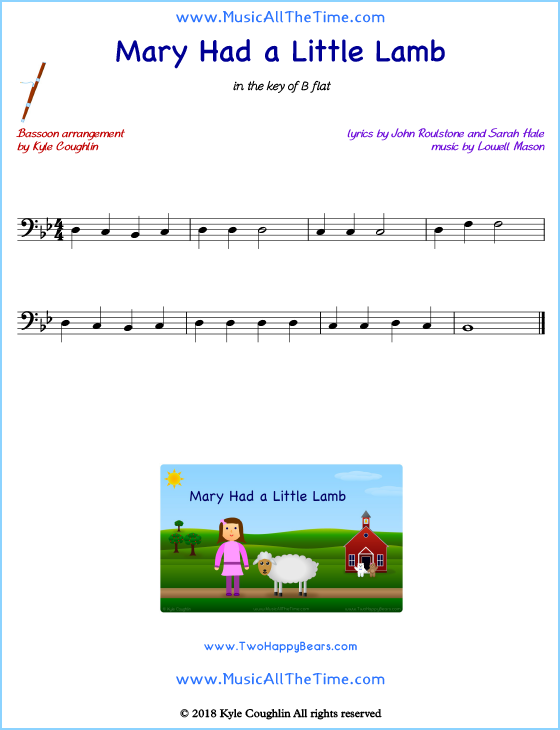 Mary Had a Little Lamb bassoon sheet music, arranged to play along with other wind and brass instruments. Free printable PDF.