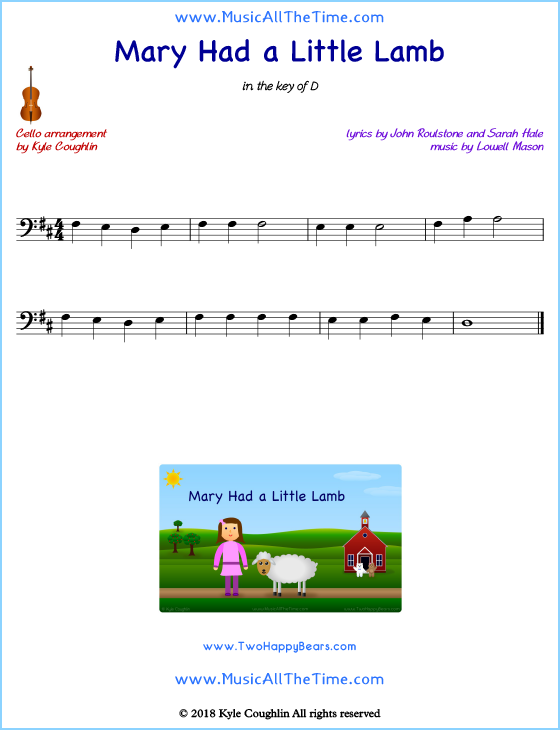 Mary Had a Little Lamb cello sheet music, arranged to play along with other string instruments. Free printable PDF.