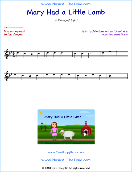 Mary Had a Little Lamb flute sheet music, arranged to play along with other wind and brass instruments. Free printable PDF.