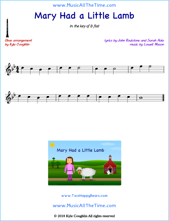 Mary Had a Little Lamb oboe sheet music, arranged to play along with other wind and brass instruments. Free printable PDF.