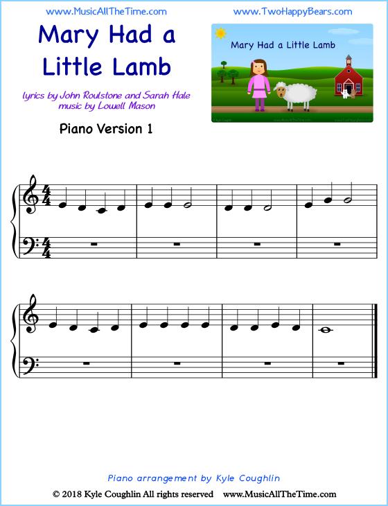 Mary Had A Little Lamb Piano Sheet Music
