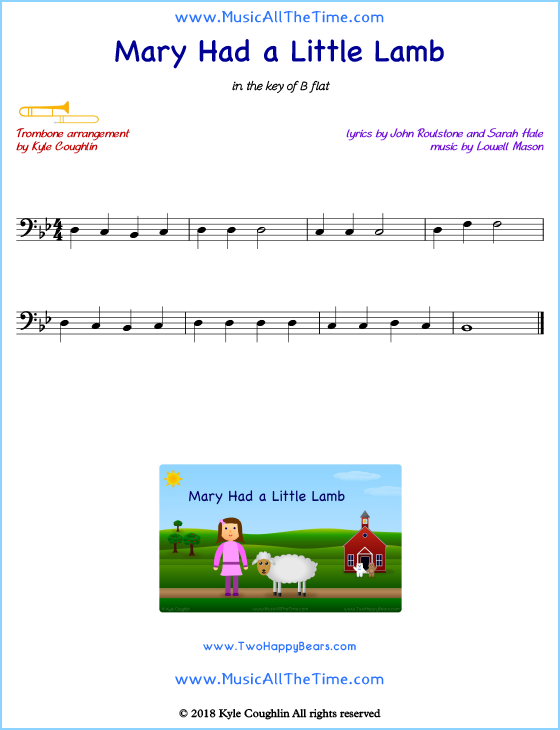 Mary Had a Little Lamb trombone sheet music, arranged to play along with other wind and brass instruments. Free printable PDF.