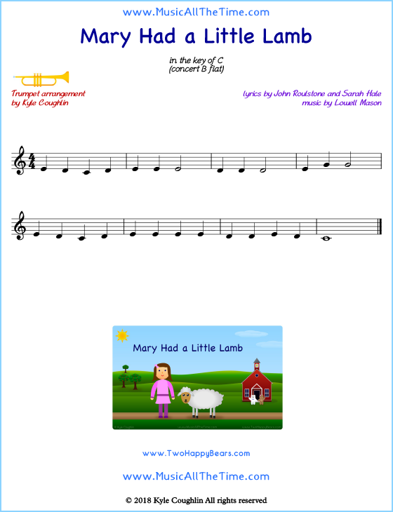 Mary Had a Little Lamb trumpet sheet music, arranged to play along with other wind and brass instruments. Free printable PDF.