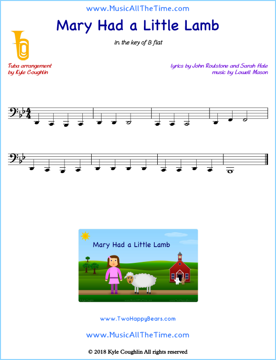 Mary Had a Little Lamb tuba sheet music, arranged to play along with other wind and brass instruments. Free printable PDF.