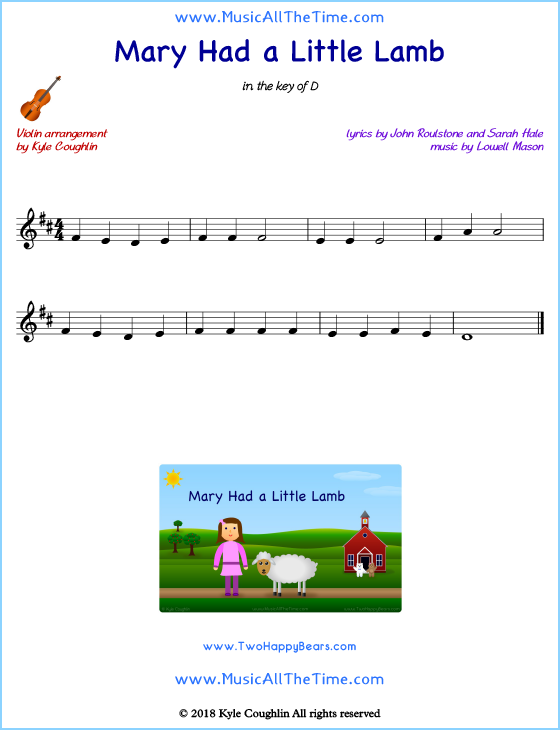 Mary Had a Little Lamb violin sheet music, arranged to play along with other string instruments. Free printable PDF.