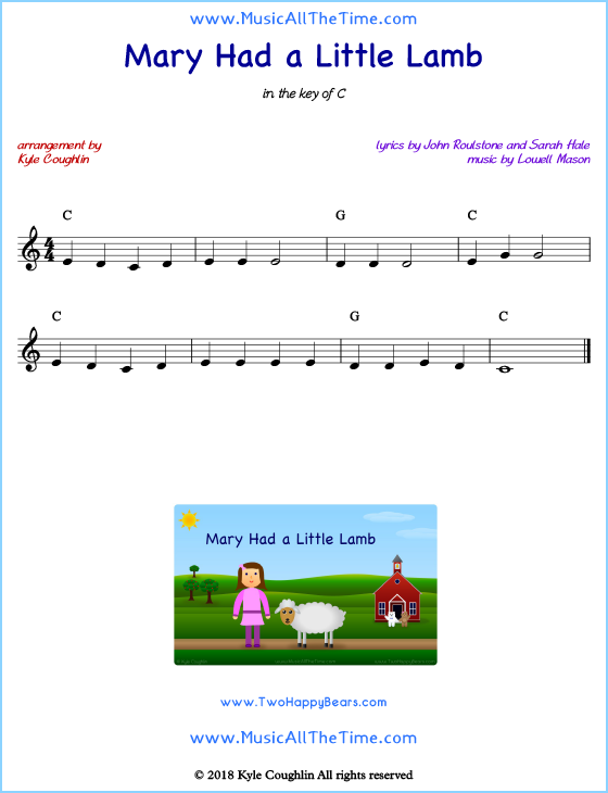 Mary Had a Little Lamb lead sheet music with chords and melody.