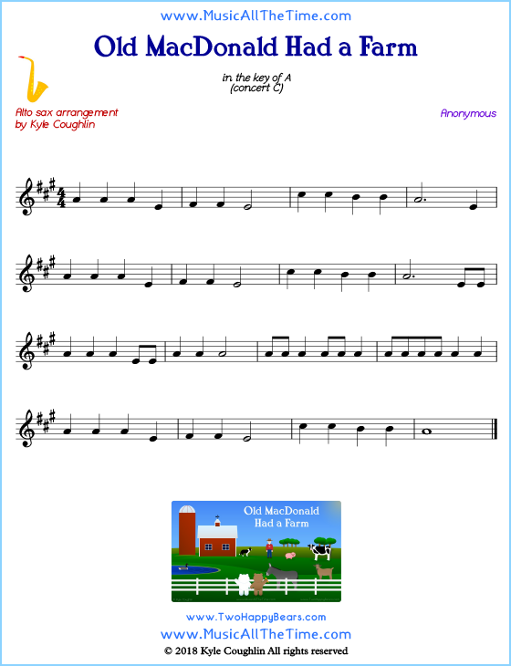 Old MacDonald Had a Farm alto saxophone sheet music, arranged to play along with other wind and brass instruments. Free printable PDF.