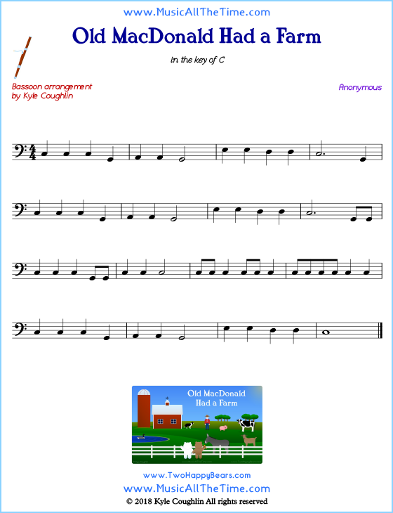 Old MacDonald Had a Farm bassoon sheet music, arranged to play along with other wind and brass instruments. Free printable PDF.