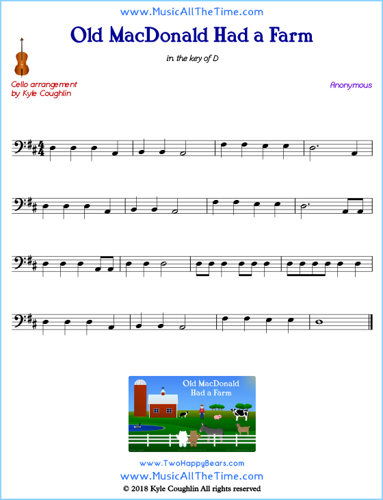 Old MacDonald Had a Farm cello sheet music, arranged to play along with other string instruments. Free printable PDF.