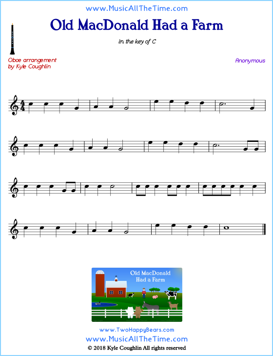 Old MacDonald Had a Farm oboe sheet music, arranged to play along with other wind and brass instruments. Free printable PDF.