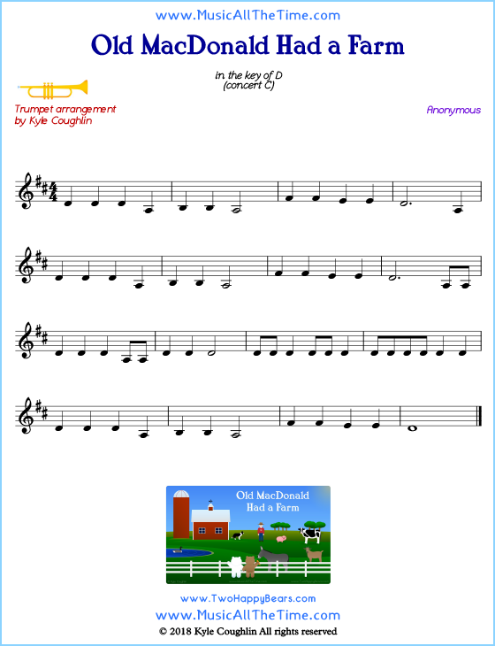 Old MacDonald Had a Farm trumpet sheet music, arranged to play along with other wind and brass instruments. Free printable PDF.