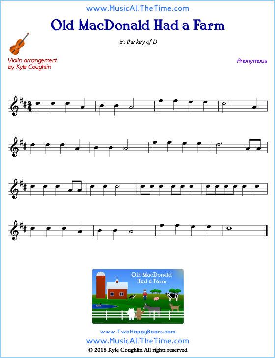 Old MacDonald Had a Farm violin sheet music, arranged to play along with other string instruments. Free printable PDF.