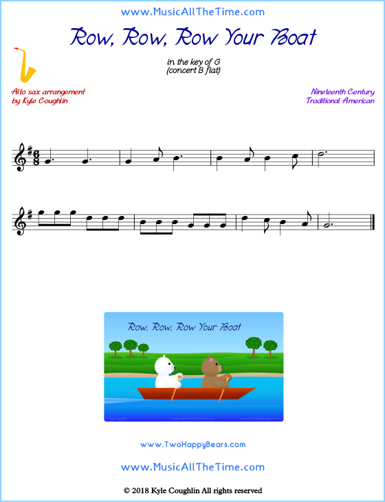 Row, Row, Row Your Boat alto saxophone sheet music, arranged to play along with other wind and brass instruments. Free printable PDF.