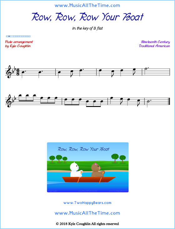 Row, Row, Row Your Boat flute sheet music, arranged to play along with other wind and brass instruments. Free printable PDF.