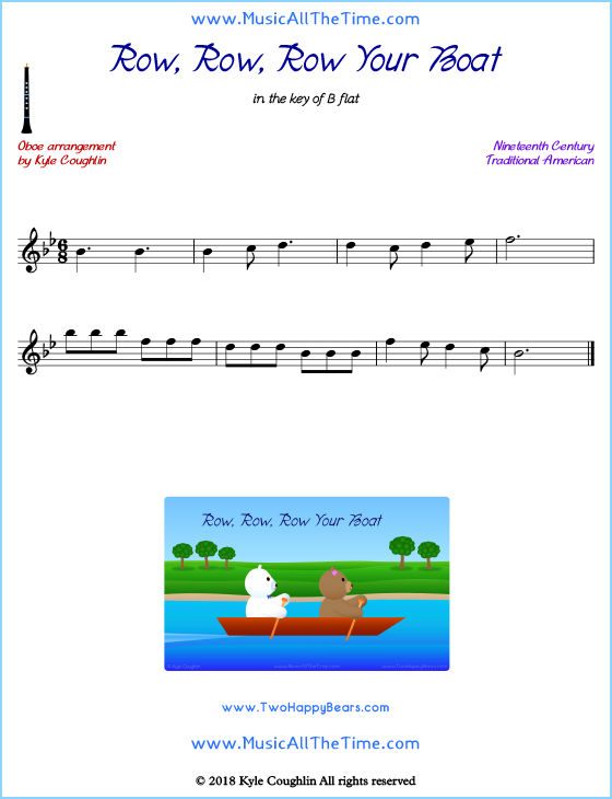 Row, Row, Row Your Boat oboe sheet music, arranged to play along with other wind and brass instruments. Free printable PDF.