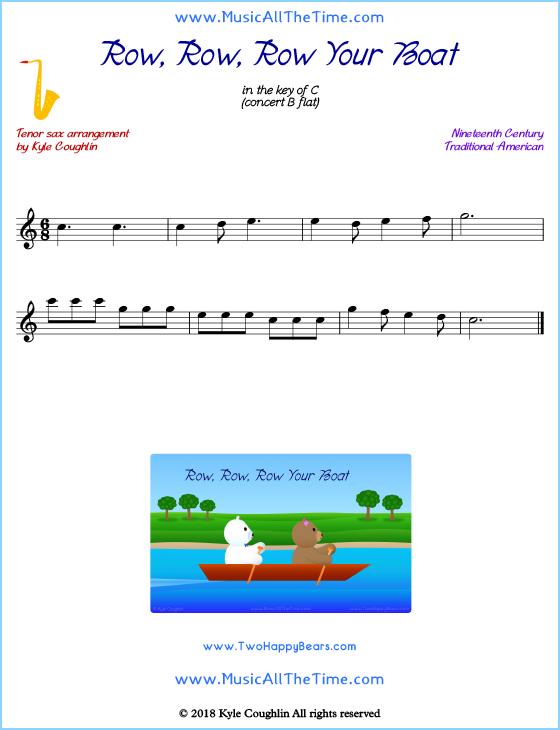 Row, Row, Row Your Boat Tenor Saxophone Sheet Music