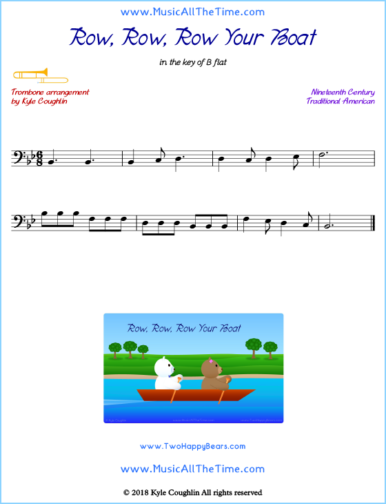 Row, Row, Row Your Boat trombone sheet music, arranged to play along with other wind and brass instruments. Free printable PDF.