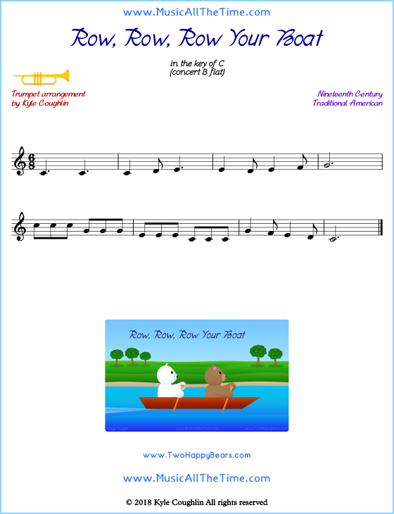 Row, Row, Row Your Boat Trumpet Sheet Music