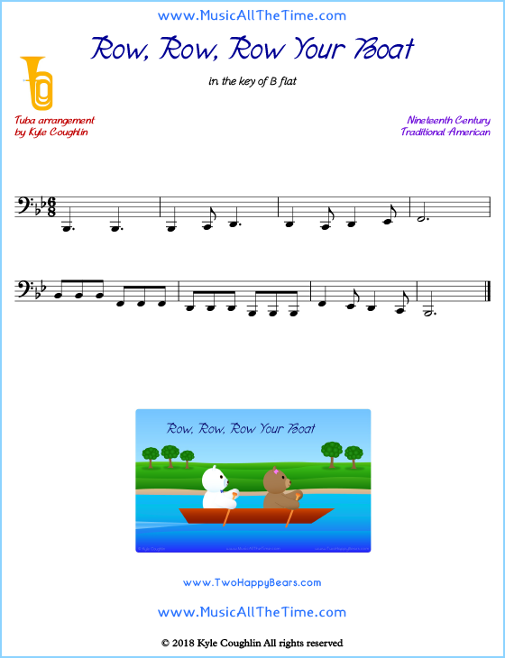 Row, Row, Row Your Boat tuba sheet music, arranged to play along with other wind and brass instruments. Free printable PDF.