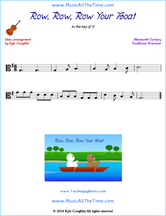 Row, Row, Row Your Boat viola sheet music, arranged to play along with other string instruments. Free printable PDF.