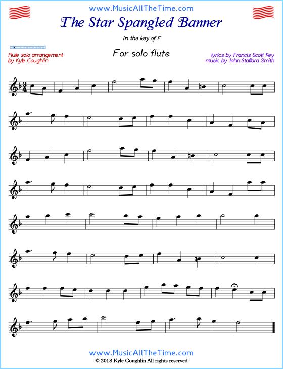 The Star Spangled Banner Flute Sheet Music