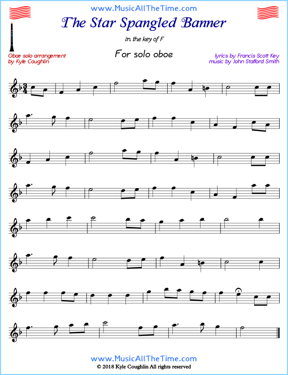 The Star Spangled Banner solo oboe sheet music.  Free printable PDF.