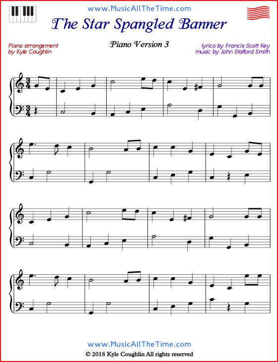The Star Spangled Banner Piano Sheet Music