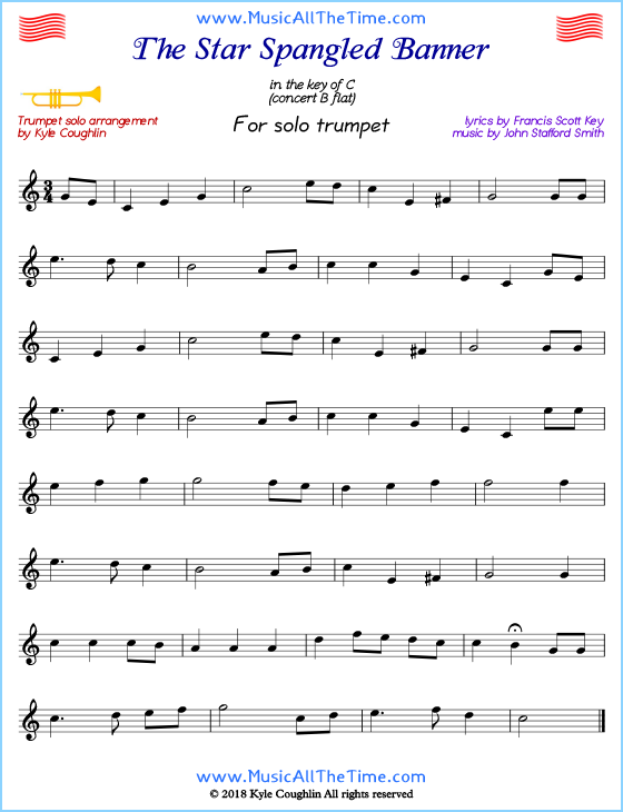 The Star Spangled Banner Trumpet Sheet Music