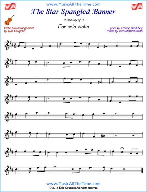 The Star Spangled Banner for solo violin. Free printable PDF.