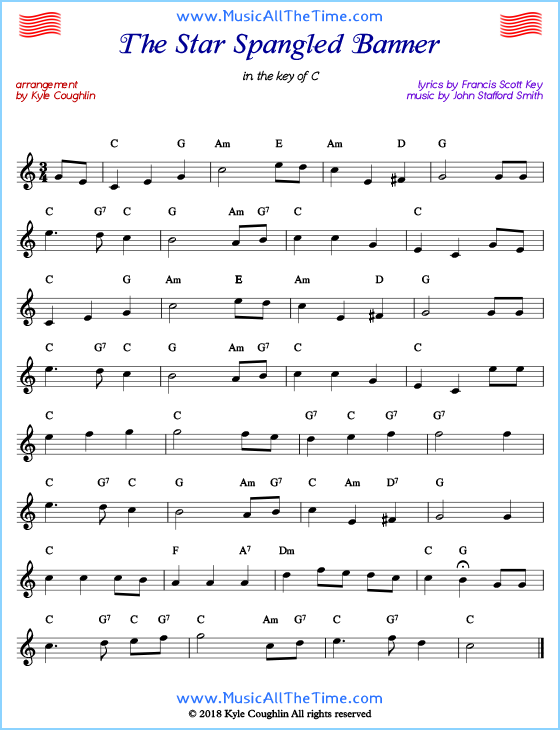 Star Spangled Banner lead sheet music with chords and melody.