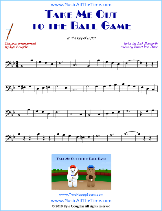 Take Me Out to the Ball Game bassoon sheet music, arranged to play along with other wind and brass instruments. Free printable PDF.