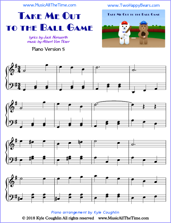 Take Me Out to the Ball Game advanced sheet music for piano. Free printable PDF.