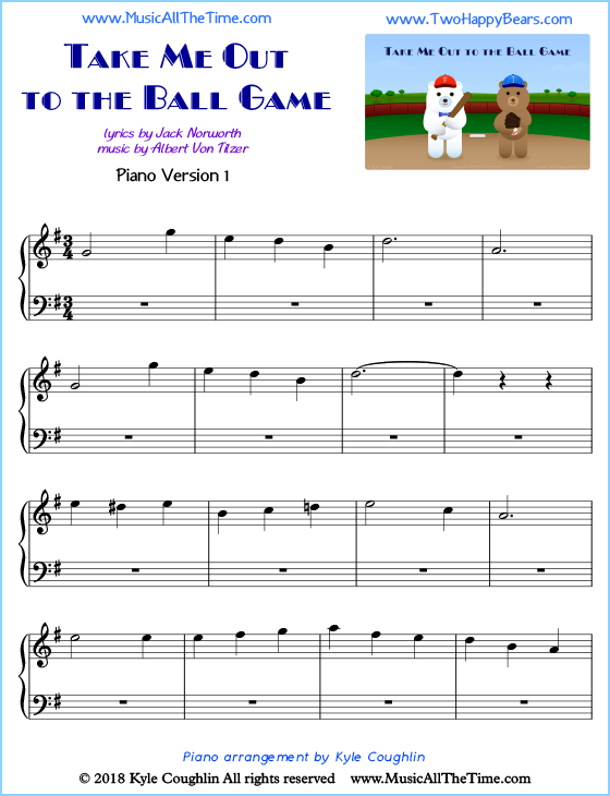 image relating to All of Me Easy Piano Sheet Music Free Printable called Consider Me Out towards the Ball Video game Piano Sheet Audio