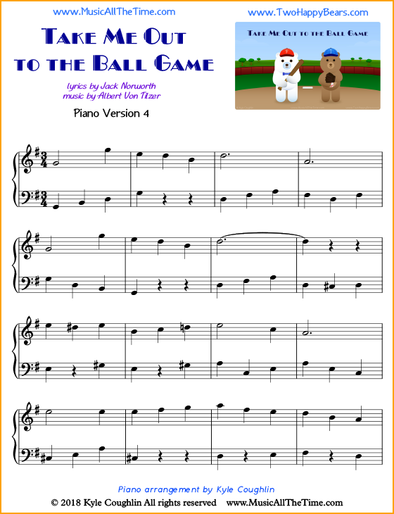 Take Me Out to the Ball Game intermediate sheet music for piano. Free printable PDF.