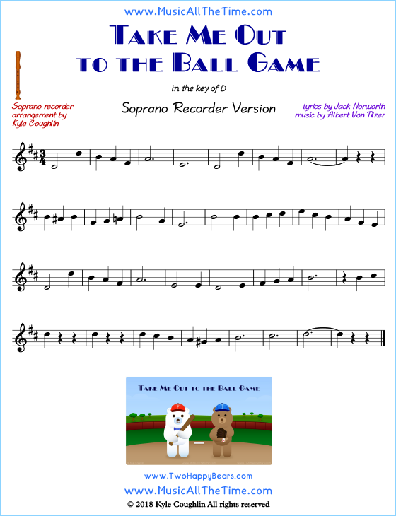Take Me Out to the Ball Game soprano recorder sheet music. Free printable PDF.