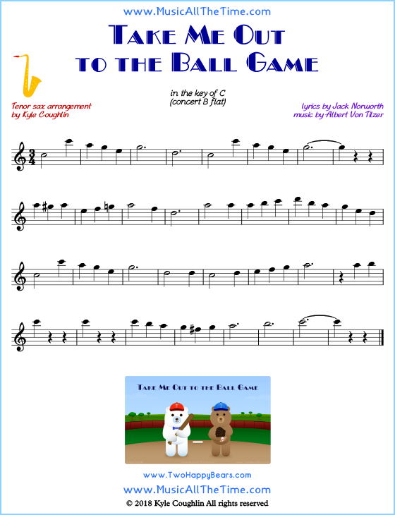 Take Me Out to the Ball Game Tenor Saxophone Sheet Music