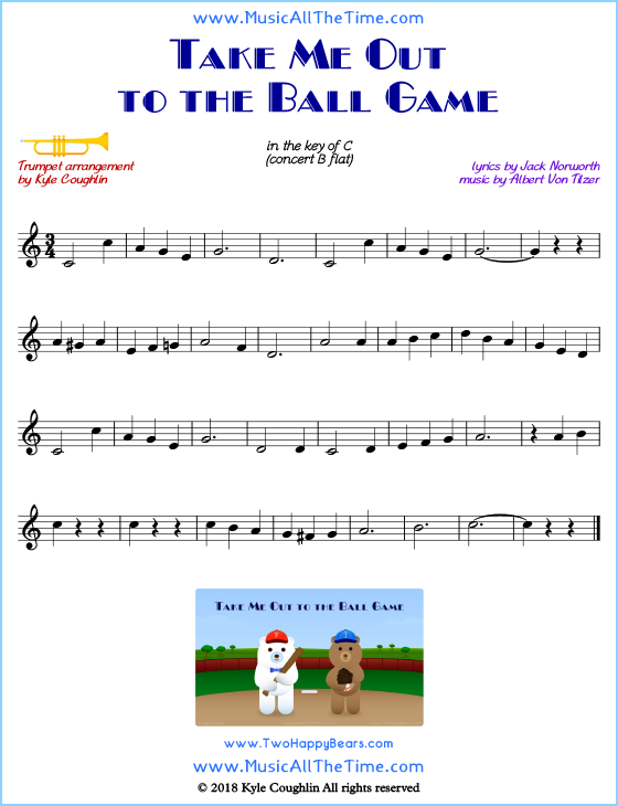 Take Me Out to the Ball Game trumpet sheet music, arranged to play along with other wind and brass instruments. Free printable PDF.