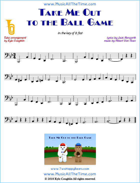 Take Me Out to the Ball Game tuba sheet music, arranged to play along with other wind and brass instruments. Free printable PDF.