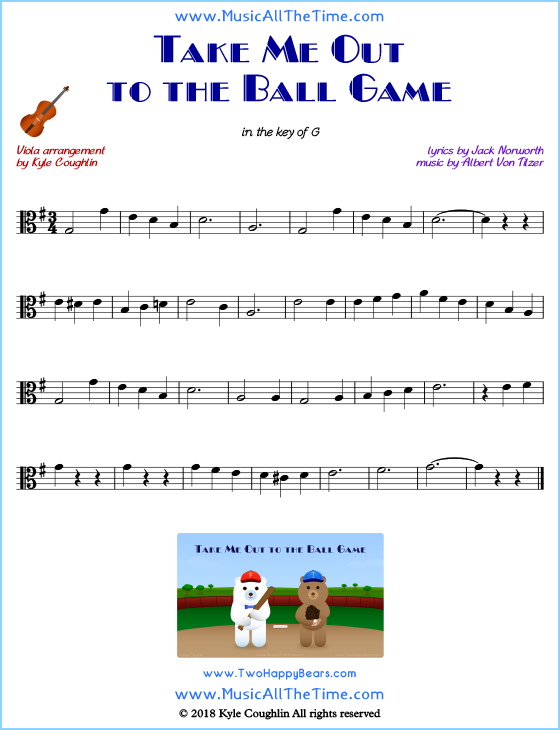 Take Me Out to the Ball Game viola sheet music, arranged to play along with other string instruments. Free printable PDF.