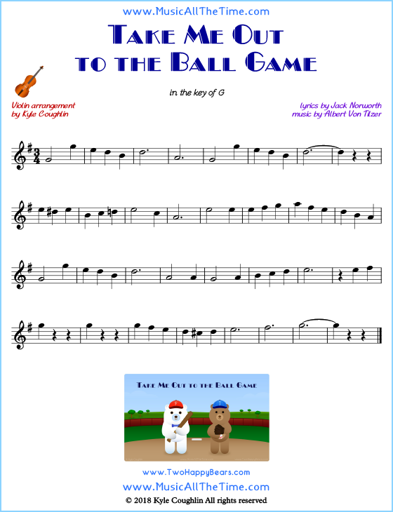 Take Me Out to the Ball Game violin sheet music, arranged to play along with other string instruments. Free printable PDF.