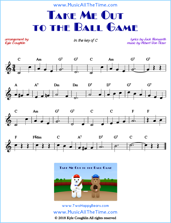 Take Me Out to the Ball Game lead sheet music with chords and melody. Free printable PDF.