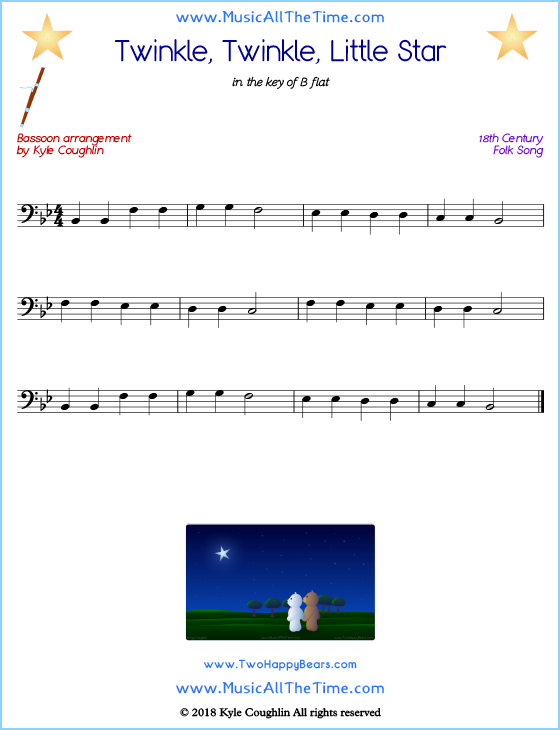 Twinkle, Twinkle, Little Star bassoon sheet music, arranged to play along with other wind and brass instruments. Free printable PDF.