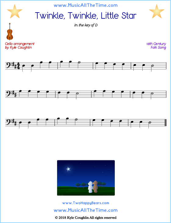 Twinkle, Twinkle, Little Star cello sheet music, arranged to play along with other string instruments. Free printable PDF.