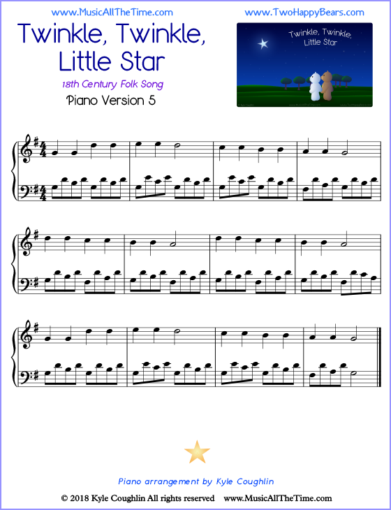 Twinkle, Twinkle, Little Star advanced sheet music for piano. Free printable PDF.