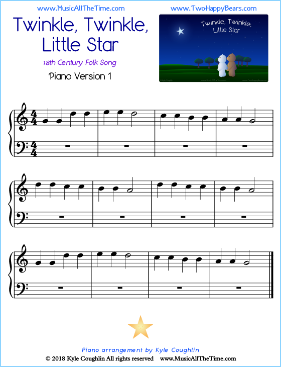 Twinkle, Twinkle, Little Star beginner sheet music for piano. Free printable PDF.