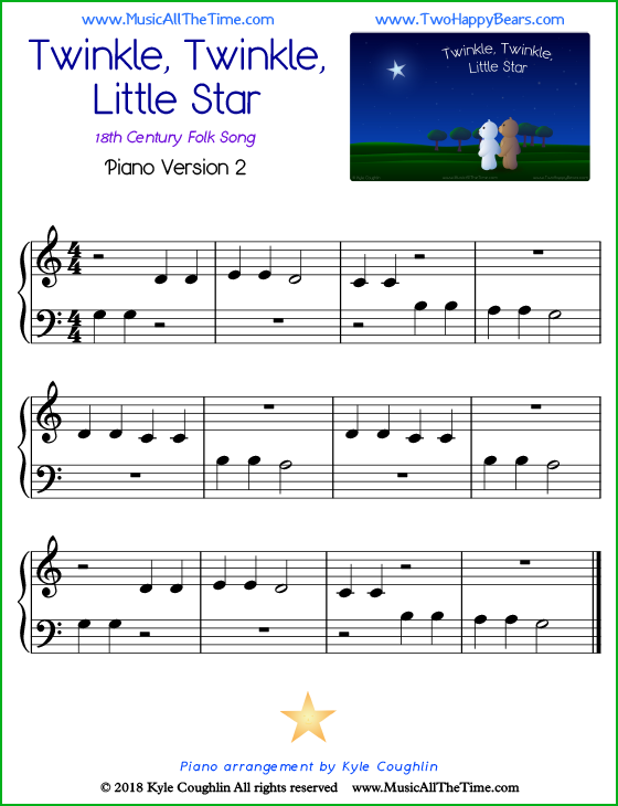 Twinkle, Twinkle, Little Star easy sheet music for piano. Free printable PDF.