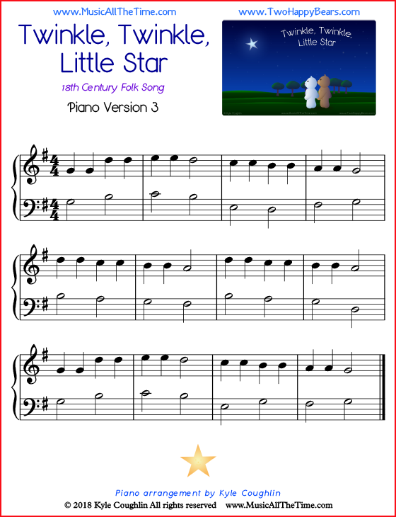Twinkle, Twinkle, Little Star simple sheet music for piano. Free printable PDF.