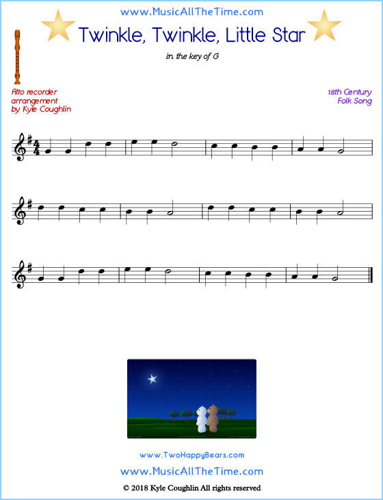 Twinkle, Twinkle, Little Star alto recorder sheet music. Free printable PDF.