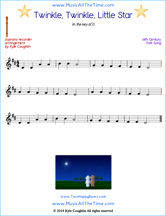 Twinkle, Twinkle, Little Star soprano recorder sheet music. Free printable PDF.