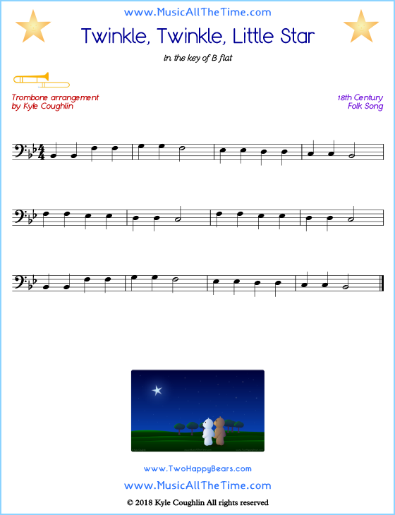 Twinkle, Twinkle, Little Star trombone sheet music, arranged to play along with other wind and brass instruments. Free printable PDF.